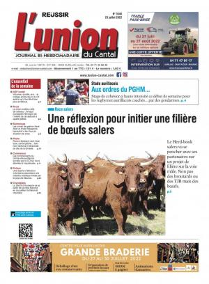 La couverture du journal L'Union du Cantal n°3393 | novembre 2020