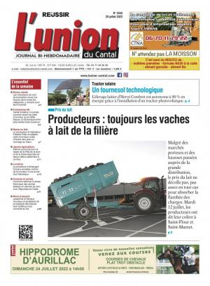 La couverture du journal L'Union du Cantal n°3360 |  0000