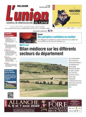 La couverture du journal L'Union du Cantal n°3376 | septembre 2020